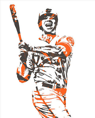 Mixed Media - Chris Davis Baltimore Orioles Pixel Art 10 by Joe Hamilton