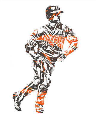 Mixed Media - Chris Davis Baltimore Orioles Pixel Art 12 by Joe Hamilton