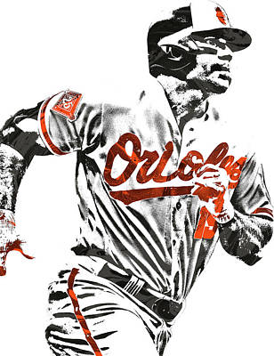Mixed Media - Chris Davis Baltimore Orioles Pixel Art by Joe Hamilton