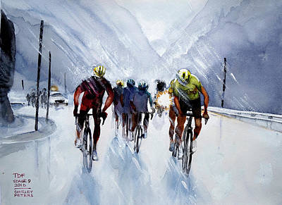 Chris Froome And Others In Rain And Ice Art Print by Shirley Peters