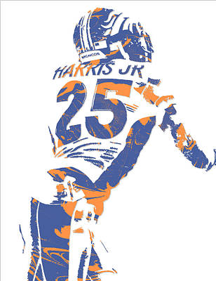 Chris Harris Jr Denver Broncos Pixel Art 2 Art Print