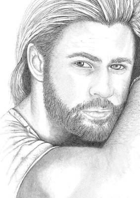 Thor Drawing Drawing - Chris Hemsworth by Jennifer Campbell Brewer