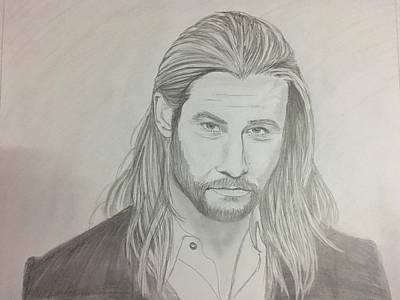 Chris Hemsworth Drawing Drawing - Chris Hemsworth Portrait by Subrahmanya Hegde