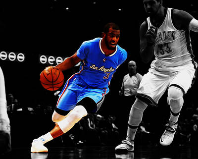 La Clippers Mixed Media - Chris Paul by Brian Reaves