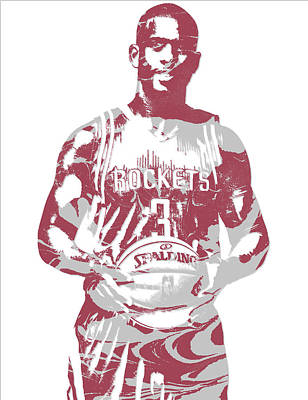 Mixed Media - Chris Paul Houston Rockets Pixel Art 2 by Joe Hamilton