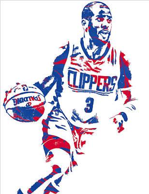 Los Angeles Clippers Mixed Media - Chris Paul Los Angeles Lakers Pixel Art 6 by Joe Hamilton