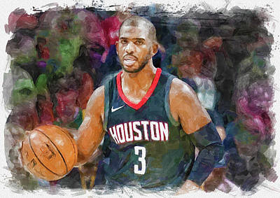 Athletes Royalty-Free and Rights-Managed Images - Chris Paul Paint by Ricky Barnard