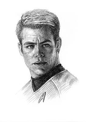 Chris Pine As Captain Kirk Art Print by Jason Reisig