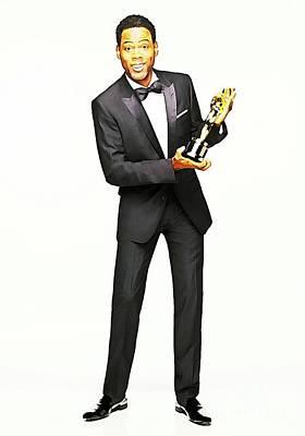 At Poster Mixed Media - Chris Rock With Oscar by John Malone