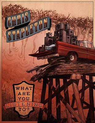 Listening Digital Art - Chris Stapleton Poster by Ethan Harris