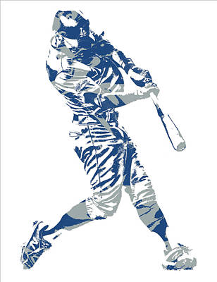 Mixed Media - Chris Taylor Los Angeles Dodgers Home Run by Joe Hamilton