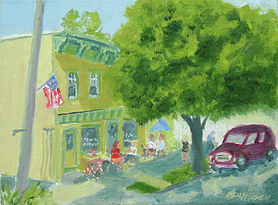 Shady Street Painting - Chrissy Beanz Sackets Harbor Ny by Robert P Hedden