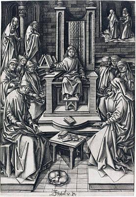 Drawing - Christ Among The Doctors by Israhel van Meckenem