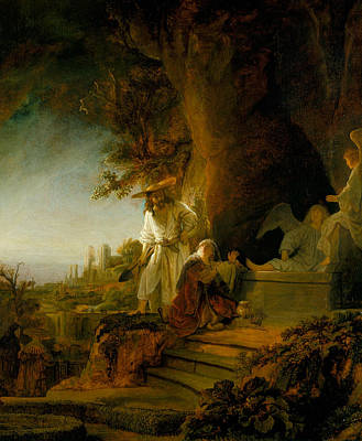 Jesus Art Painting - Christ And St Mary Magdalen At The Tomb by Rembrandt