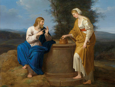 Painting - Christ And The Samaritan Woman At The Well by Ferdinand Georg Waldmuller