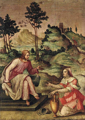 Painting - Christ And The Woman Of Samaria by Francesco del Brina