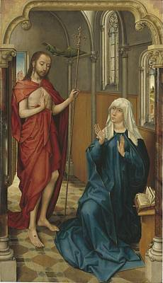 Religious Art Painting - Christ Appearing To The Virgin by Follower Of Rogier Van Der Weyden