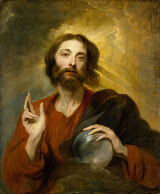 Communion Painting - Christ As Salvator Mundi by Anthony van Dyck