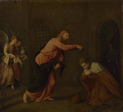 Christ Baptising Saint John Martyr Art Print