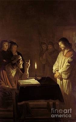 Candle Stand Painting - Christ Before The High Priest by Gerrit van Honthorst