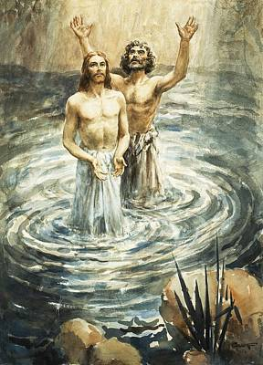 Henry Coller Painting - Christ Being Baptised by Henry Coller