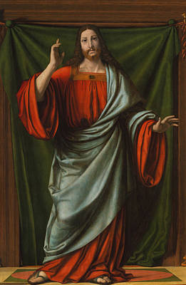 Sacred Heart Painting - Christ Blessing by Andrea Solario