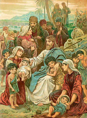 Blessings Drawing - Christ Blessing Little Children by English School