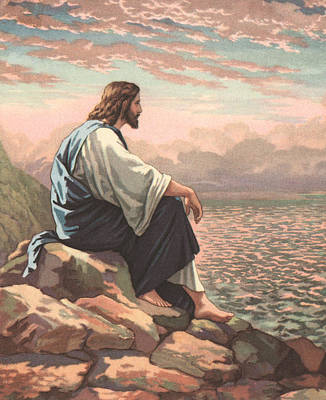Jesus Christ Drawing - Christ By The Sea by American School