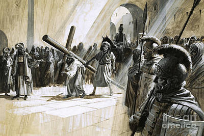 New Testament Drawing - Christ Carrying The Cross by Andrew Howat