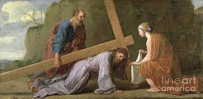 Christ Carrying The Cross Print by Eustache Le Sueur