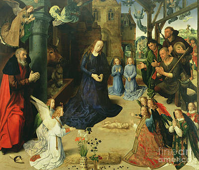 Christ Child Adored By Angels Print by Hugo van der Goes
