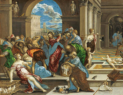 Money God Painting - Christ Cleansing The Temple by El Greco