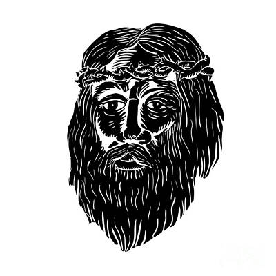 Christ Crown Of Thorns Woodcut Art Print