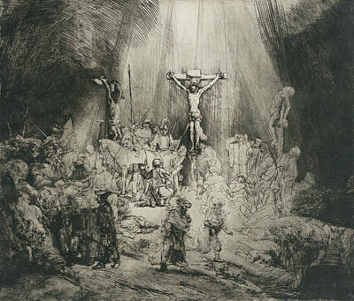 Christ Crucified Between The Two Thieves Art Print by Rembrandt