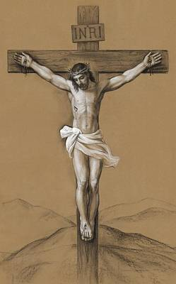 Drawings Royalty Free Images - Christ Crucified Royalty-Free Image by Svitozar Nenyuk