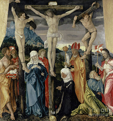 Mixed Media - Christ Crucified With The Thieves, Saints, And A Female Donor, 1512  by Hans Baldung Grien