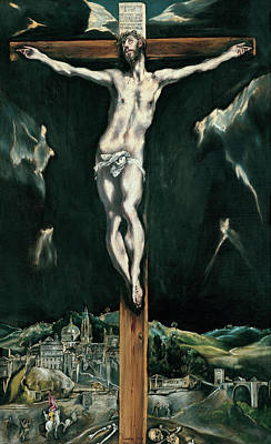 Crucifixion Painting - Christ Crucified With Toledo In The Background by El Greco