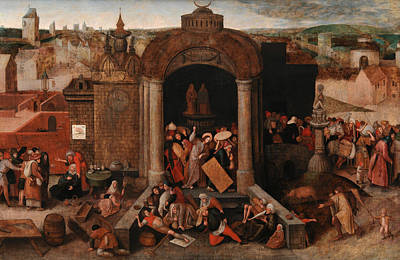 Jesus Art Painting - Christ Driving The Traders From The Temple by Pieter Bruegel the Elder