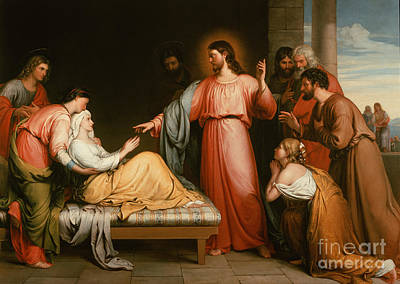 Christ Healing The Mother Of Simon Peter Art Print by John Bridges