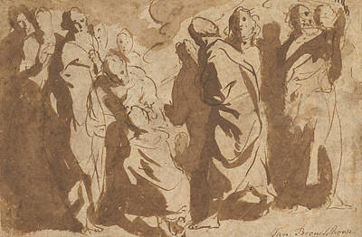 Drawing - Christ Healing The Paralytic by Jacob Jordaens
