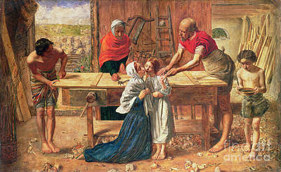 Woodwork Painting - Christ In The House Of His Parents by JE Millais and Rebecca Solomon