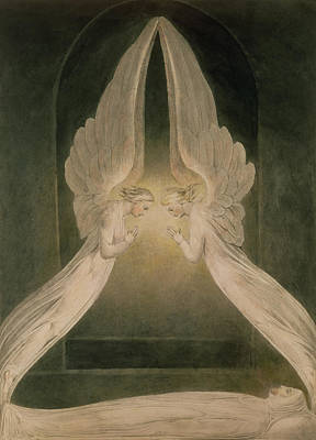 New Testament Drawing - Christ In The Sepulchre Guarded By Angels by William Blake