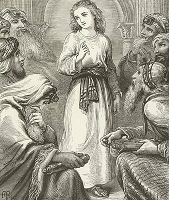 Jewish Drawing - Christ In The Temple by English School