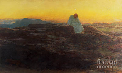Contemplating Painting - Christ In The Wilderness by Briton Riviere
