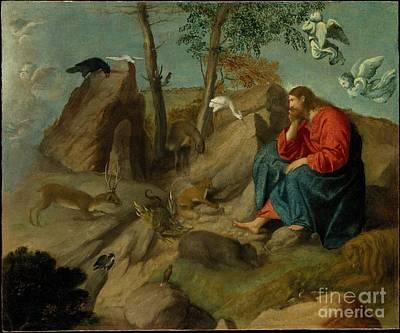 Jesus Christ Drawing - Christ In The Wilderness by Celestial Images