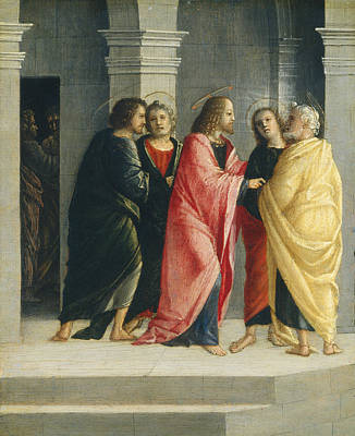 Jesus Art Painting - Christ Instructing Peter And John To Prepare For The Passover by Vincenzo Civerchio