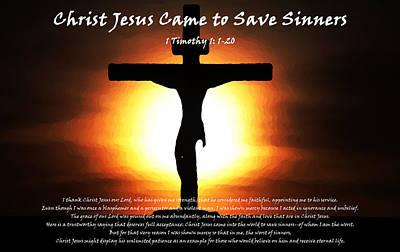 Jehova Digital Art - Christ Jesus Came To Save Sinners by Alexis Moreno Plariza
