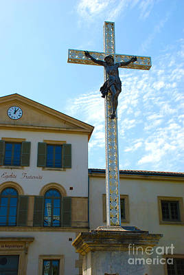 Church Photograph - Christ On Cross And Church by Just Eclectic