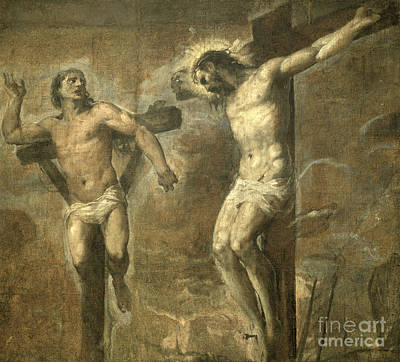 Crucifix Art Painting - Christ On The Cross And The Good Thief by Titian