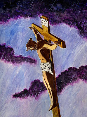 Crucifix Art Painting - Christ On The Cross by Michael Vigliotti